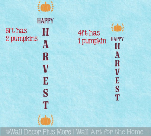 Decal Sticker for Tall Vertical Wood Sign Fall Happy Harvest Pumpkin- 2 size options