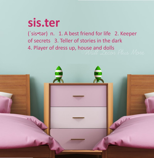 Sister or Brother Definition Wall Decal Sticker Kids Room Art Decor- sister in Hot Pink