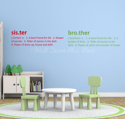 Sister or Brother Definition Wall Decal Sticker Kids Room Art Decor- Brother in Lime green, sister in Cherry Red