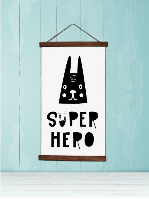 Wood Canvas Wall Hanging Super Hero Rabbit Face Kids Room Decor Sign Art- 9x15