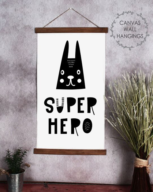 Wood Canvas Wall Hanging Super Hero Rabbit Face Kids Room Decor Sign Art- 15x26
