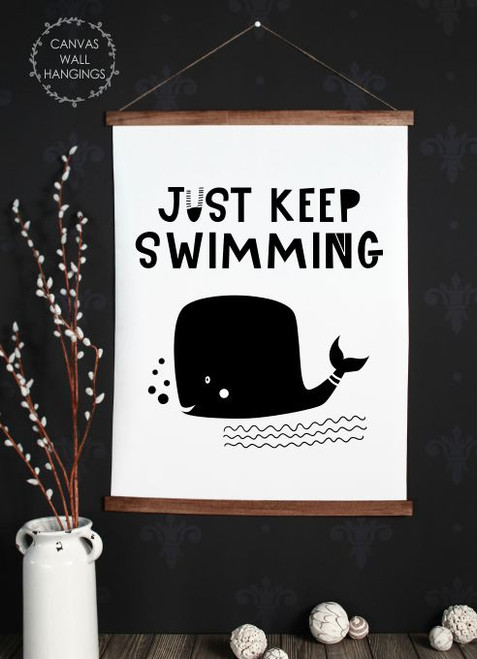 Wood Canvas Wall Hanging Keep Swimming Whale Kids Room Decor Sign Art- 23x30