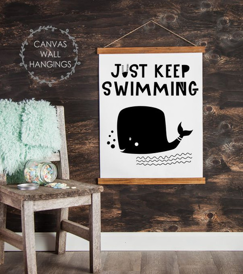 Wood Canvas Wall Hanging Keep Swimming Whale Kids Room Decor Sign Art- 19x24