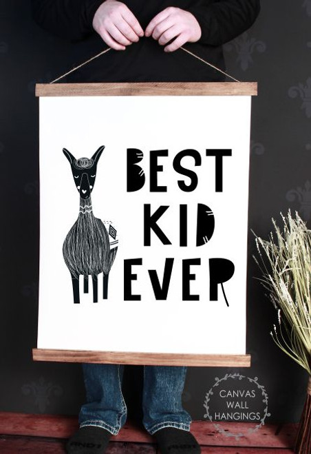 Wood Canvas Wall Hanging Best Kid Ever Llama Sign Modern Room Decor Art- 23x30