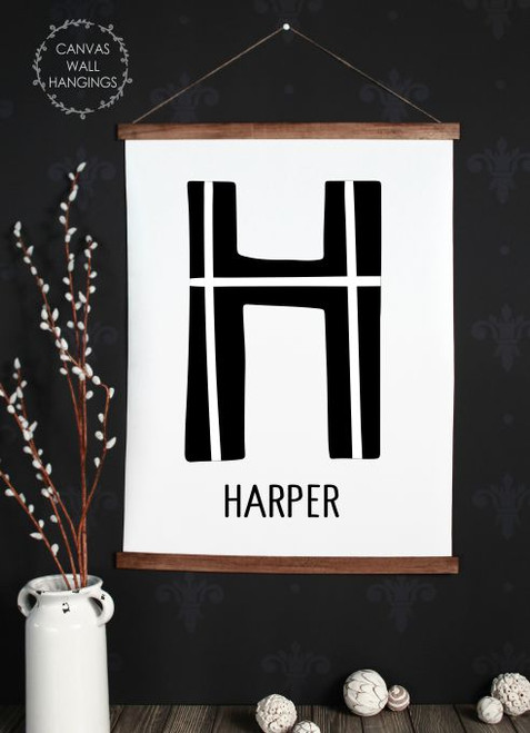 Wood Canvas Wall Hanging Personalized Kids Name Sign Modern Monogram Art- 23x30