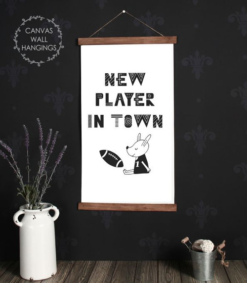 Wood Canvas Wall Hanging Sign New Player In Town Football Modern Art- 15x26