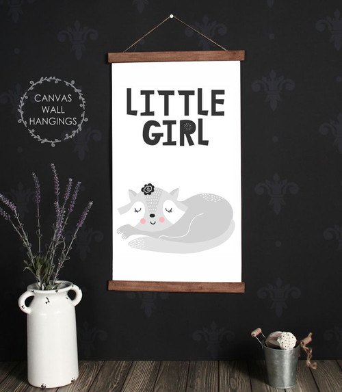 Wood Canvas Wall Hanging Little Girl Sign Sleeping Cat Decor Modern Art- 15x26