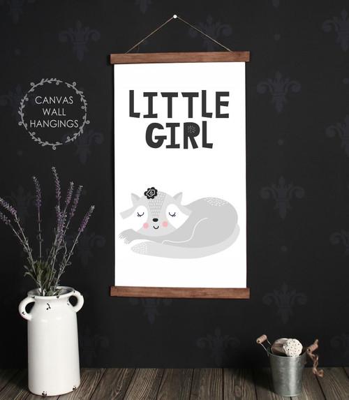 Wood Canvas Wall Hanging Little Girl Sign Sleeping Cat Decor Modern Art- 15x26