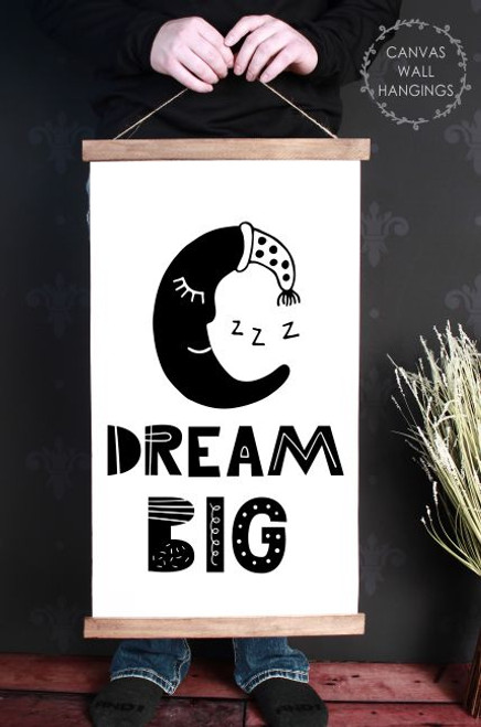 Wood Canvas Wall Hanging Dream Big Sign Moon Kids Room Decor Modern Art- 15x26
