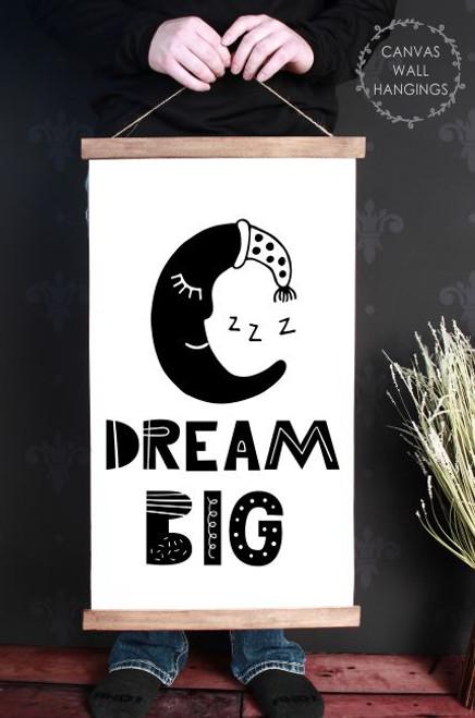 Wood Canvas Wall Hanging Dream Big Sign Moon Kids Room Decor Modern Art- 15x26