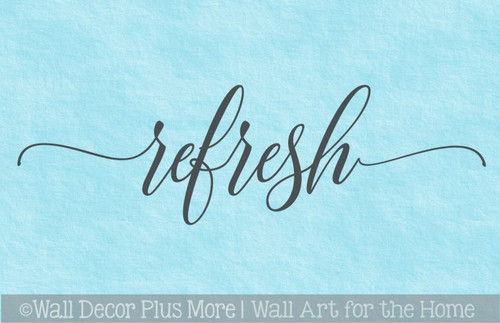 Refresh Wall Words Decal Sticker Cursive Lettering Decor Bathroom Art