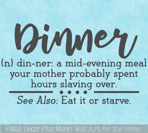 Kitchen Wall Decor Sticker Dinner Definition Mom Quotes Art Decal Words
