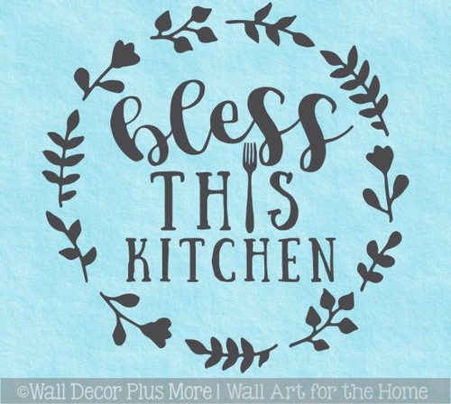 Bless This Kitchen Wall Decal Circle Wreath Fork Art Decor Quote Words