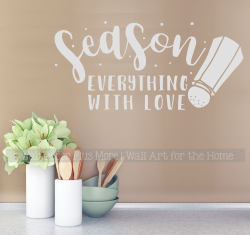 Kitchen Wall Words Decal Sticker Season With Love Salt Shaker Art Decor-Light Gray