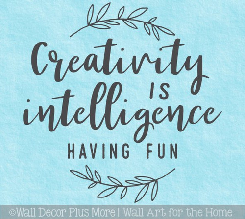 Craft Room Wall Art Decal Creativity Intelligence Fun Decor Quote Sticker
