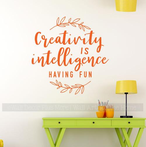 Craft Room Wall Art Decal Creativity Intelligence Fun Decor Quote Sticker-Orange