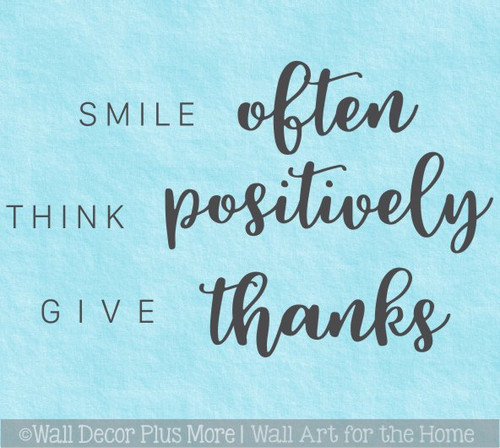 Smile Often Think Positively Wall Art Quote Sticker Decal Lettering Decor
