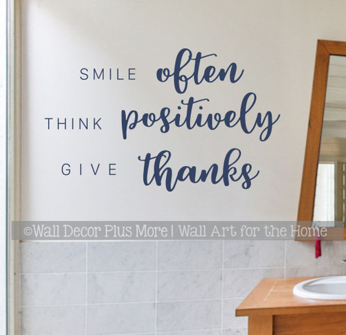 Smile Often Think Positively Wall Art Quote Sticker Decal Lettering Decor-Deep Blue