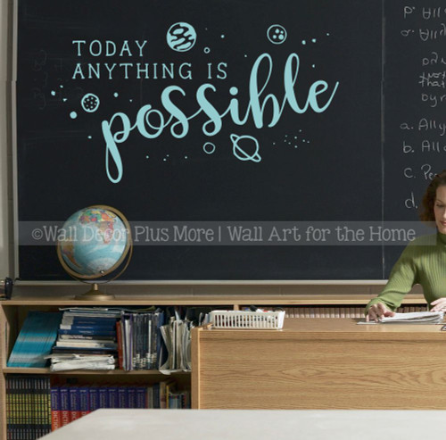 Inspirational Wall Decal Quote Today Anything Possible Solar Space Art-Beach House