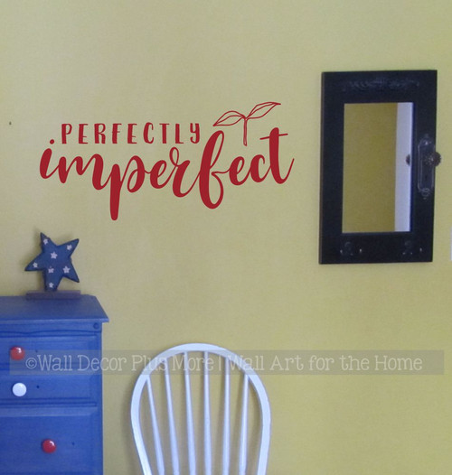 Perfectly Imperfect Inspirational Wall Quote Decal Sticker Home Decor-Red