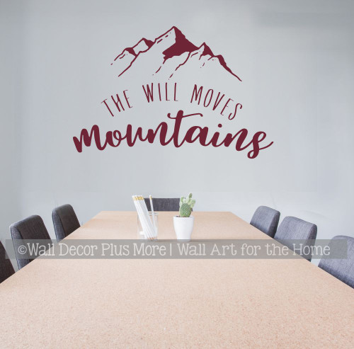Motivational Wall Decor Will Moves Mountains Quote Decal Sticker Letters-Burgundy