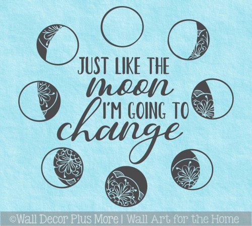 Moon Phases Wall Decor Sticker I'm Going To Change Kids Space Art Decal