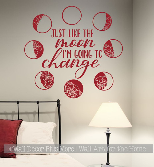 Moon Phases Wall Decor Sticker I'm Going To Change Kids Space Art Decal-Red