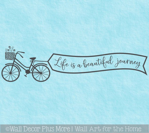 Life Beautiful Journey Bike Inspiring Wall Decor Sticker Decal Art Quote