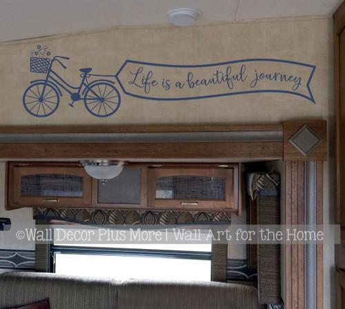 Life Beautiful Journey Bike Inspiring Wall Decor Sticker Decal Art Quote-Deep Blue