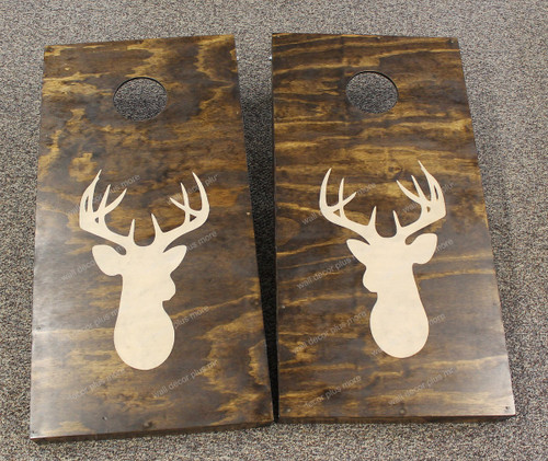 Deer Head Silhouette Decal or Stencil for Bean bag Cornhole Boards _Beige