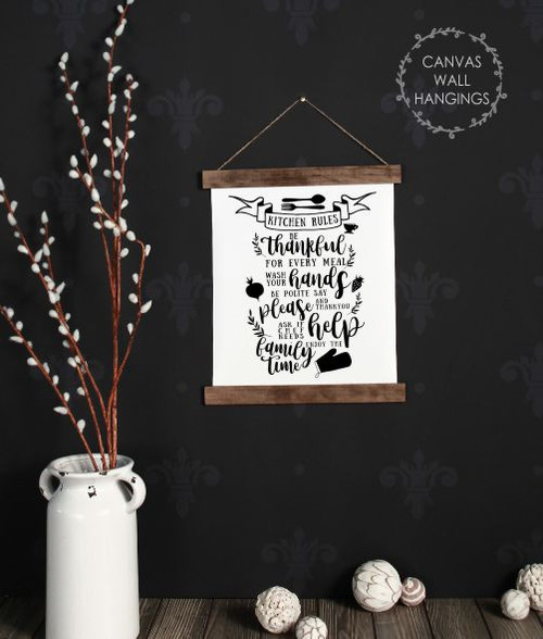 Wood Canvas Wall Hanging Kitchen Rules Decor Sign Art Enjoy Family Time-12x14.5 small