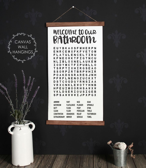 Wood Canvas Wall Hanging Welcome To Bathroom Word Search Puzzle Sign Art-15x26 Large