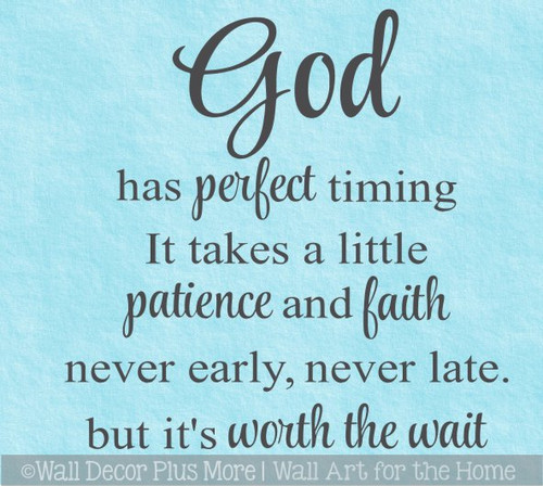 God Has Perfect Timing Religious Christian Wall Art Decal Sticker Quote