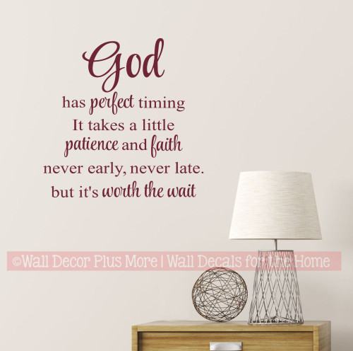 God Has Perfect Timing Religious Christian Wall Art Decal Sticker Quote-Burgundy