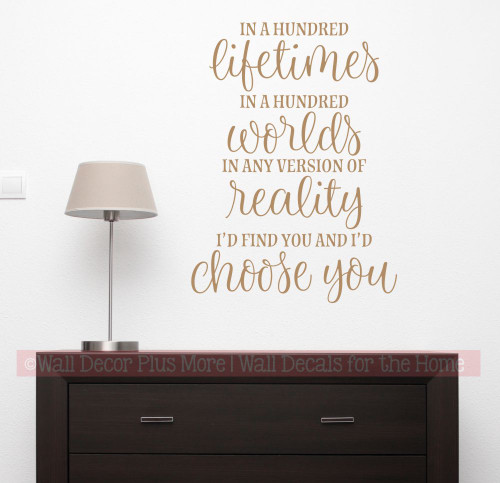 I'd Find You Choose You Love Wall Quote Decal Sticker Bedroom Decor Words-Tan
