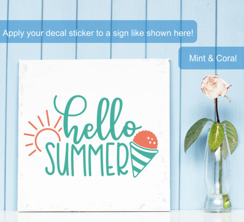 Hello Summer Cone Sunshine Art Vinyl Wall Decal Sticker Seasonal Decor-Mint/Coral