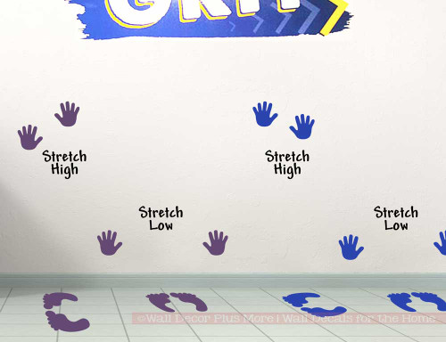 Sensory Path Hallway Floor School Decal Stickers Feet Hands Stretch Plum and Blue