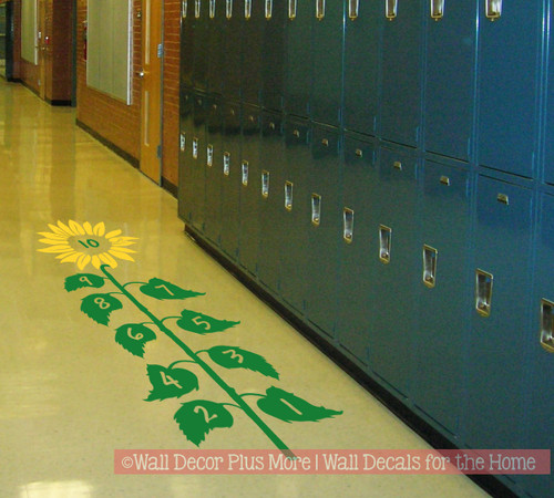 Sensory Path Floor Decal Sunflower Hopscotch School Activity Sticker Yellow/Grass Green