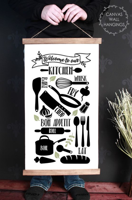 Canvas Wall Hanging with Wood Welcome to Kitchen Whisk Bake Eat Sign Art-15x26