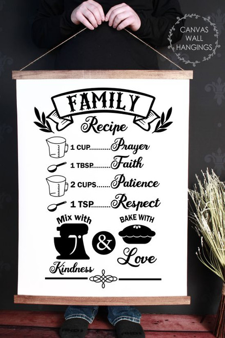 Canvas Wall Hanging with Wood Family Recipe Prayer Faith Love Sign Art-23x30