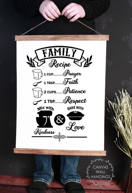 Canvas Wall Hanging with Wood Family Recipe Prayer Faith Love Sign Art-19x24