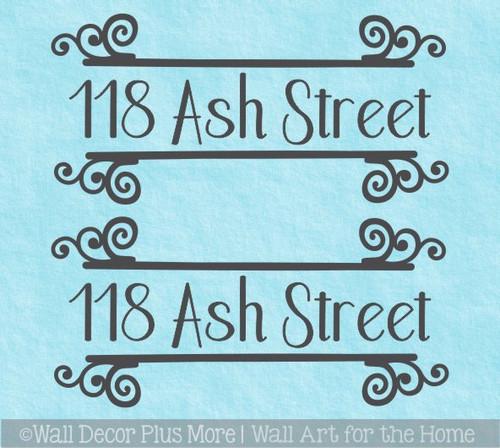 Mailbox Lettering Vinyl Decal Sticker Curly Line Address Decorative Art