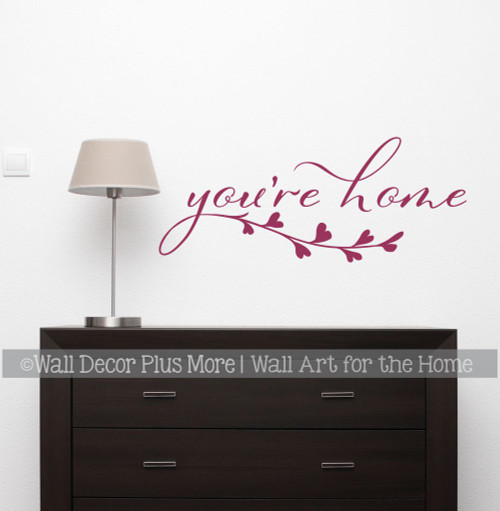You're Home Wall Decal Sticker Leaf Art Vinyl Decor Quote Letter Art Berry