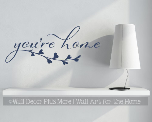 You're Home Wall Decal Sticker Leaf Art Vinyl Decor Quote Letter Art Deep Blue