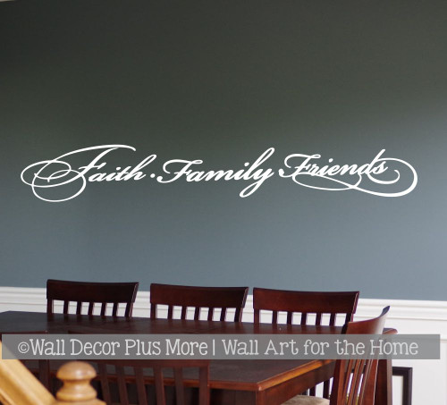 Faith Family Friends Elegant Wall Decal Sticker Lettering Decor Words White