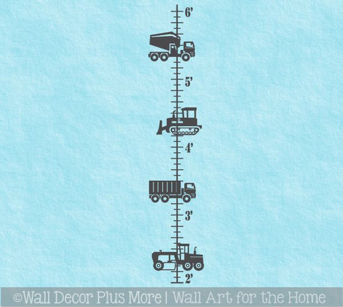 Construction Height Ruler Growth Chart Wall Decal Sticker for Boys Decor