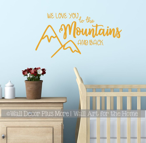 Woodland Wall Art Sticker We Love You Mountains Kids Nursery Room Decal Honey