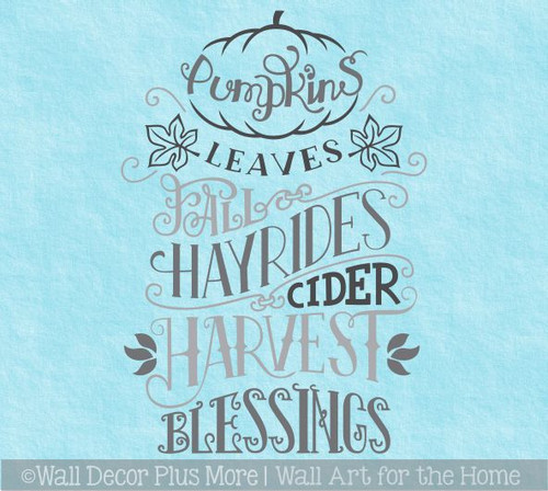 Fall Wall Decal Sticker Pumpkins Leaves Hay Rides Word Art Autumn Decor