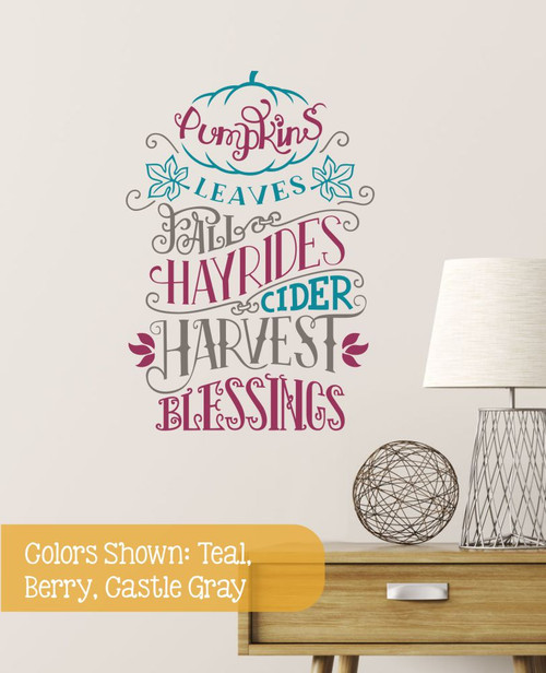 Fall Wall Decal Sticker Pumpkins Leaves Hay Rides Word Art Autumn Decor- Teal, Berry, Castle Gray