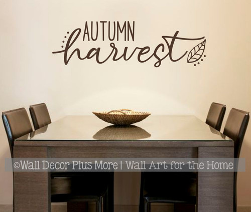 Autumn Harvest Fall Wall Art Decor Sticker Decal Vinyl Lettering Words-Chocolate Brown